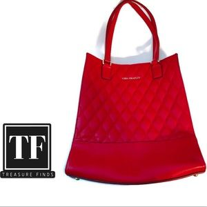 Vera Bradley Leather Quilted Nora Tote Tango Red